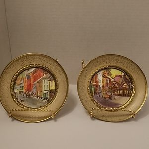 2 Solid Brass English Countryside Wall Hangings